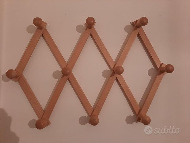 NUOVO Appendiabiti in legno a muro a 10 ganci