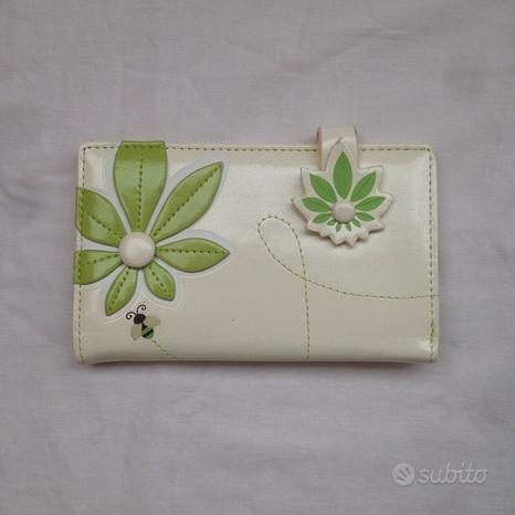 Portafoglio panna con fiore