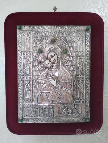 Antica icona Russa Ortodossa Madonna di Vladimir