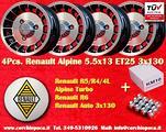4 Cerchi + Dadi Renault 4 5 6 Alpine R4 R5 Turbo