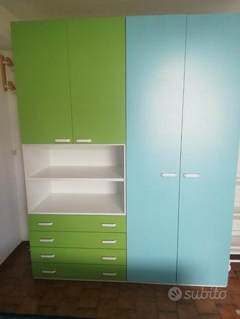 Camera bimbi/ragazzi verde-azzurra-bianca