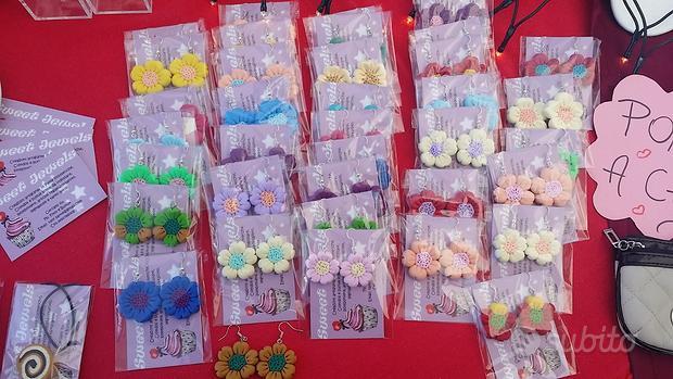 Orecchini fimo fiori colorati fatti a mano handmad