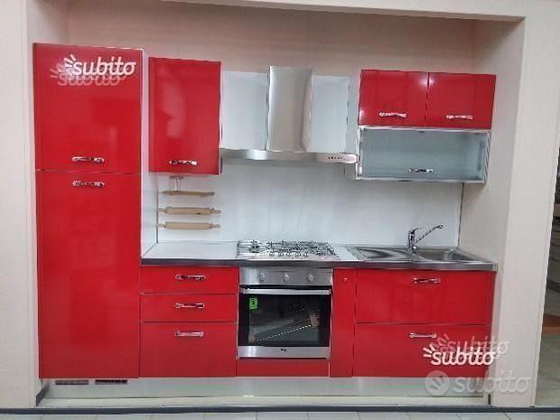 Cucina laminato rosso lux EXPO' L 285 cm, H 216 cm
