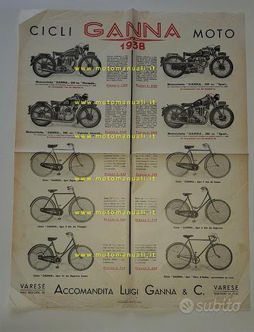 Ganna cicli moto produzione modelli 1938 depliant