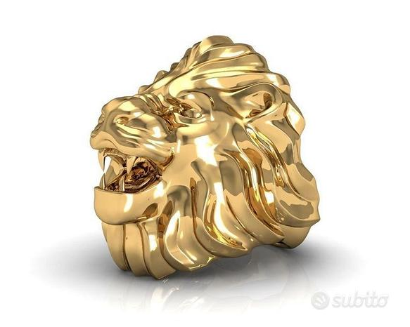 Anello leone oro 18kt-argento