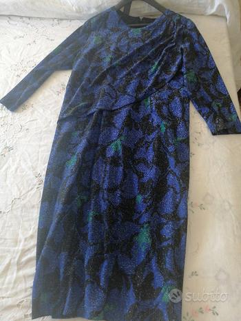 Vestito cerimonia tg 50 fantasia blue e nero