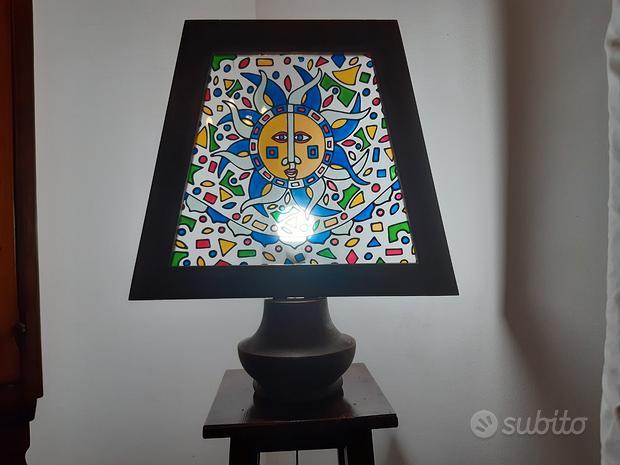 Lume in vetro e legno   Porta lume in legno