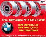 4 Cerchi BMW Alpine 7x15 4x100 E30 E21 1502-2002