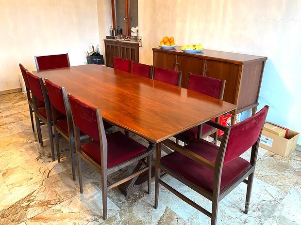 Tavolo e sedie artigianali in noce