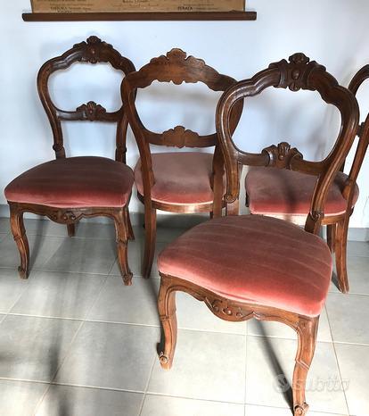 4 sedie in noce stile Luigi Filippo
