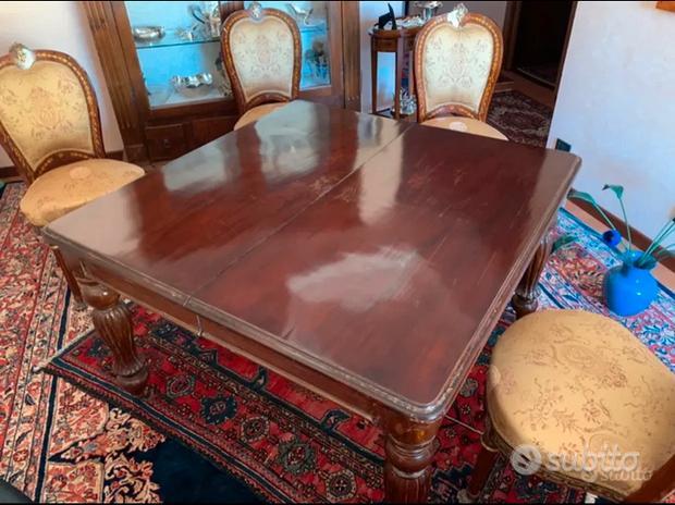 Tavolo in legno inglese Vittoriano con 4 sedie