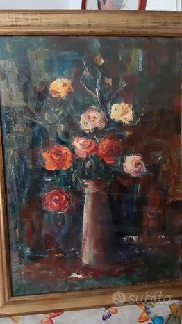 Quadro olio su tela -Vaso di fiori di C. Minniti