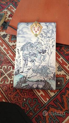 Pannello ceramica dipinto a mano di Montelupo