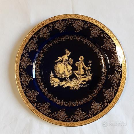 Porcellana Limoges - Piatto blu cobalto e oro