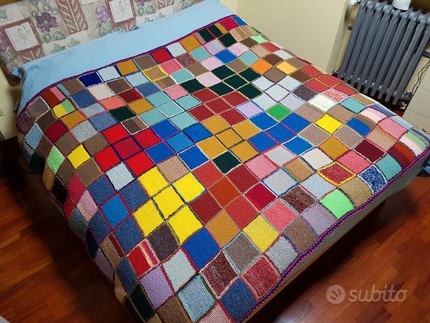 Copriletto patchwork lana