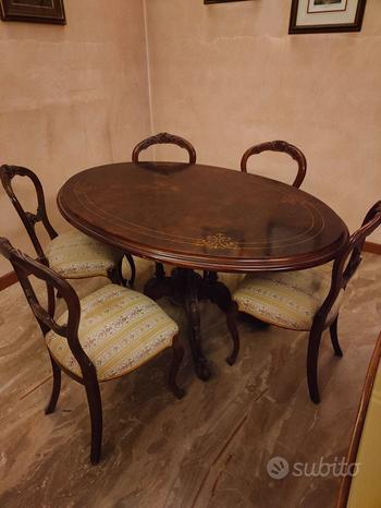 Tavolo ovale in radica e sedie
