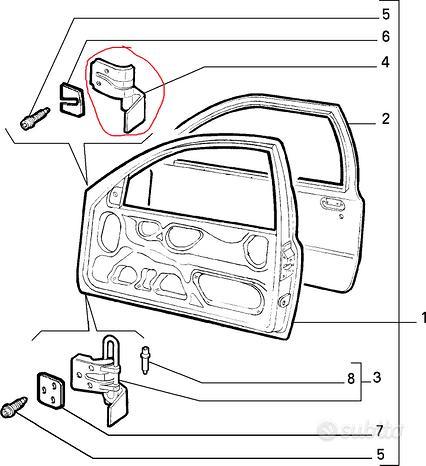 Cerniera Superiore Porta Dx Fiat Punto GT 7731465