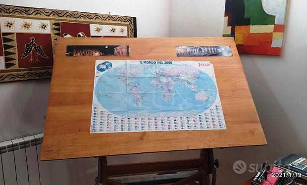Tavolo da disegno legno massiccio anni '60