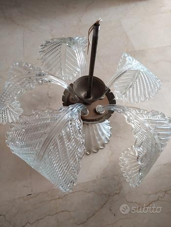 Lampadario 5 foglie e campana vetro di Murano