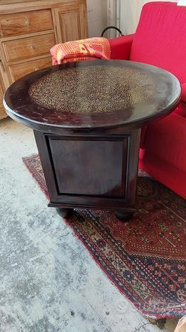 Tavolino etnico rotondo con base comodino legno