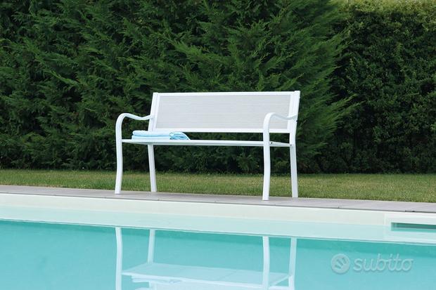 Panchina 2 posti - 128 cm in ferro color bianco