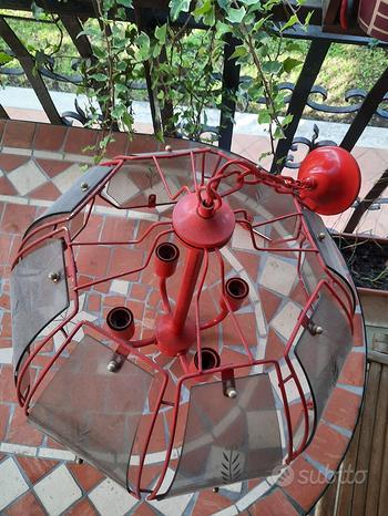 Lampadario Ferro Rosso e vetri artistici