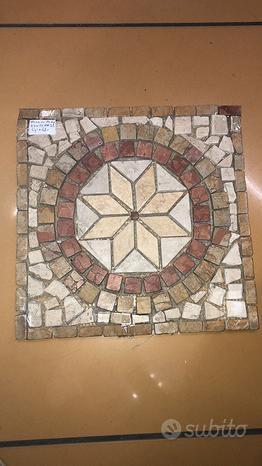 Piastrella Rosone 33x33 Mosaico giallo artigianale