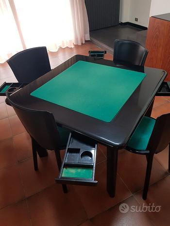 Tavolo da gioco in legno 100x100 cm piu 4 sedie