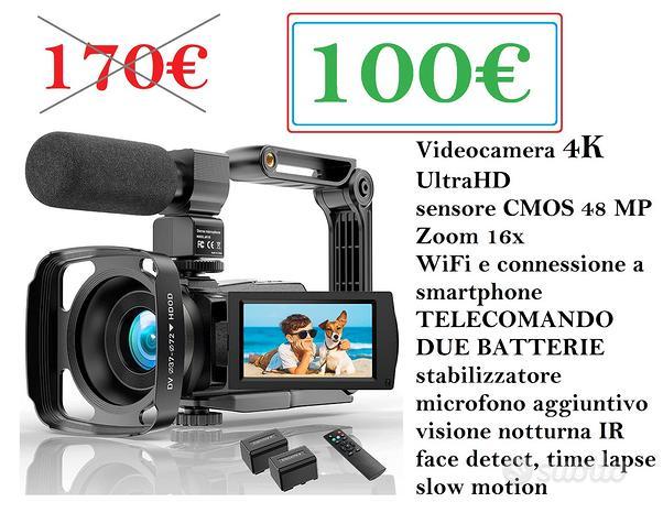 Videocamera 4k WiFi telecomando 2 batterie NUOVA