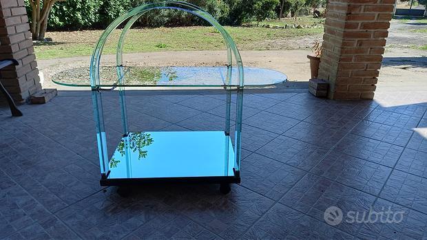 Carrello bar in vetro vintage, firmato Fiam