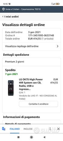 Cassa Bluetooth LG CD AUX 1000 watt RMS