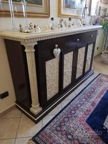 Mobile marmo e legno con 4 sportelli + 3 cassetti