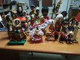24 bamboline vintage di stoffa e legno '80