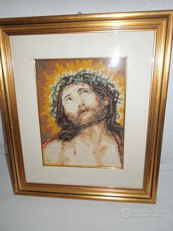 Quadro Cristo ricamato