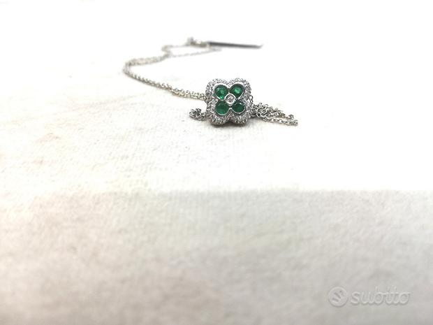 Catena in Oro 18 kt e Ciondolo Smeraldi e Diamanti