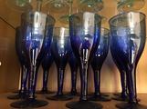 12 calici vetro blu