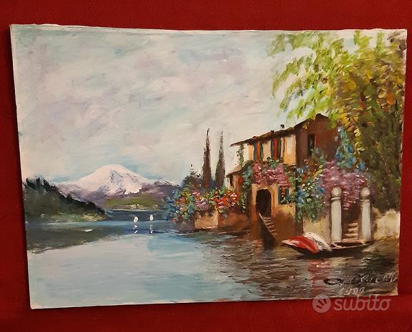 Olio su tela - Casa sul lago