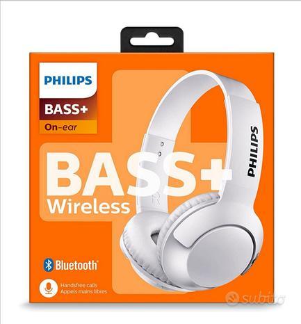 Cuffie Bluetooth Philips Bass+ senza cavi.bianco