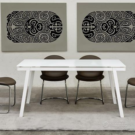 Tavolo metallo bianco allungabile