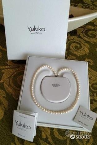 YUKIKO collana girocollo oro bianco nuova