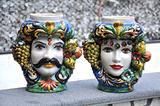 Coppia Teste Barocco Frutta ceramica Caltagirone
