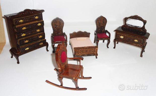 Camera da letto in legno in miniatura