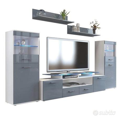 Parete porta tv moderna Agata soggiorno bianco o n