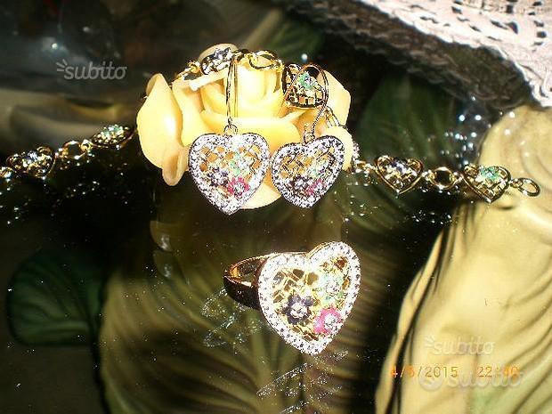 Parure argento 925 zaffiri rubini smeraldi