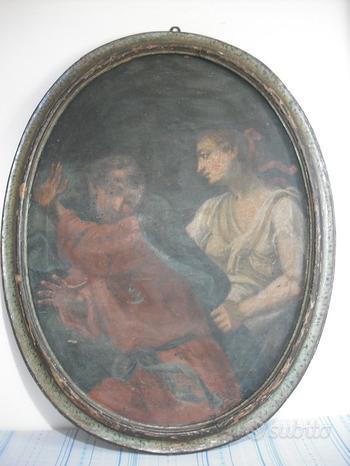 Antico dipinto olio su tela del 700