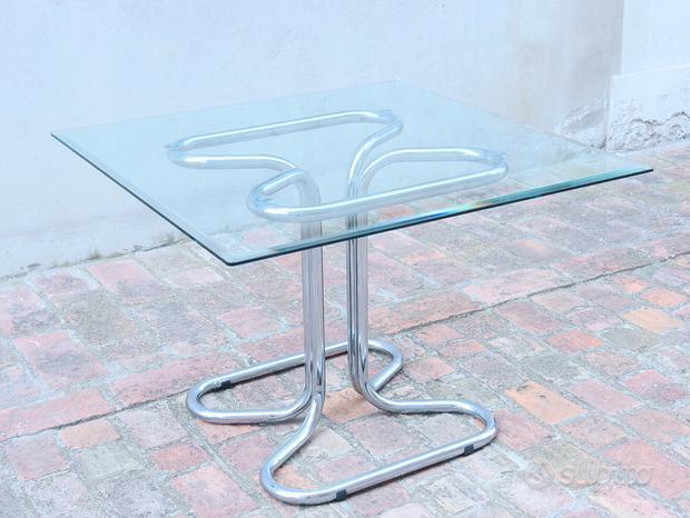 Tavolo in cristallo bisellato anni '60 vintage