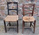 2 sedie vintage legno rustiche impagliate '50
