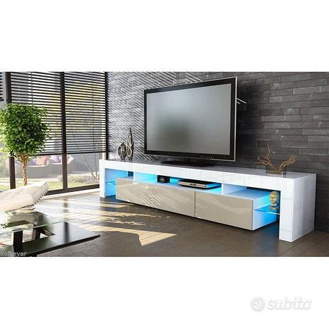 Porta tv Vivaldi, mobile bianco con led per soggio