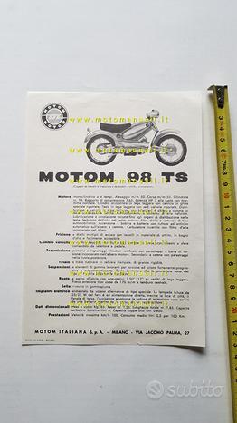 Motom 98 TS 1955 depliant originale moto brochure