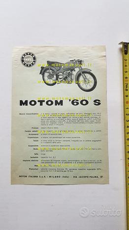 Motom 60 S 1960 depliant originale moto brochure